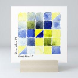 Color Chart - Lemon Yellow (DS) and Cobalt Blue (DS) Mini Art Print