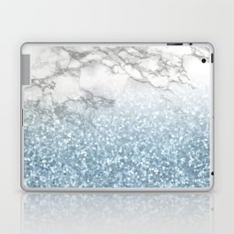 She Sparkles - Turquoise Teal Glitter Marble Laptop & iPad Skin