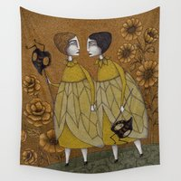 bees Wall Tapestries featuring To Save the BEES! by Judith Clay