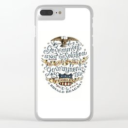 small government, larger freedom Clear iPhone Case