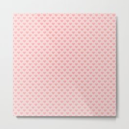 Large Blush Pink Lovehearts on Light Pink Metal Print