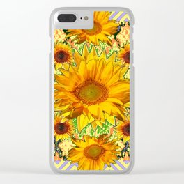 Western Style Lilac Color Golden Sunflowers Gold Pattern Art Clear iPhone Case