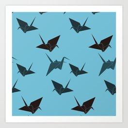Blue origami cranes Art Print