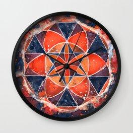 Twelve Around One Universe Galaxy Geometric Watercolor Painting Wall Clock