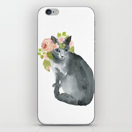 cat with flower crown iPhone Skin