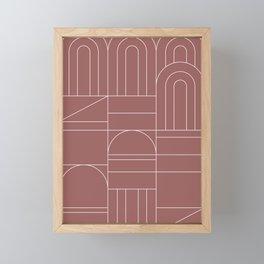 Deco Geometric 04 Dark Pink Framed Mini Art Print