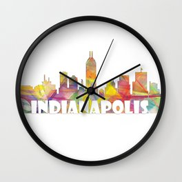 Indianapolis Indiana  Skyline MCLR 2 Wall Clock