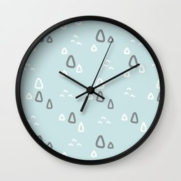 Hand painted blush teal gray white geometric pattern Wall Clock