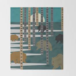 Bears walking in the forest Throw Blanket