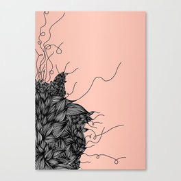 Unravelling Lines Illustration in Rose Gold Canvas Print