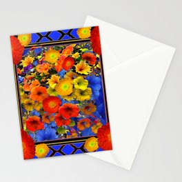 BLUE ABSTRACT OF POPPIES & YELLOW PETUNIA FLOWERS Stationery Cards