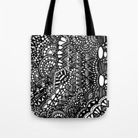zentangle Tote Bags featuring Zentangle by Maria Gracia