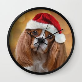 Drawing Dog breed Cavalier King Charles Spaniel  in red hat of Santa Claus Wall Clock