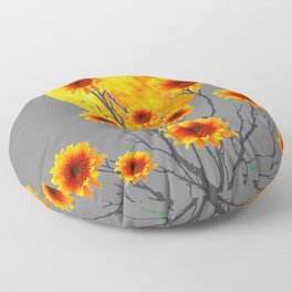 Red Gold Color Fantasy Sunflowers  Flowers Moon  Art Floor Pillow