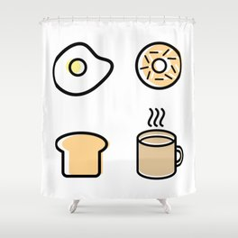 Breakfast Icons Shower Curtain