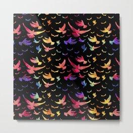 Colorful bird pattern black Metal Print