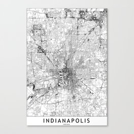 Indianapolis White Map Canvas Print