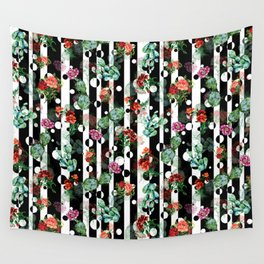 Cactus Flowers and Lines Wall Tapestry
