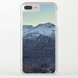 Sunset on a Snow Covered Mountain Photography Print Clear iPhone Case