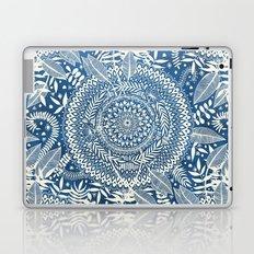 Diamond and Doodle Mandala On Blue Laptop & iPad Skin