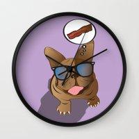 bacon Wall Clocks featuring BACON! by Salina Ayala