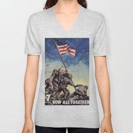 Raising the Flag on Iwo Jima Unisex V-Neck