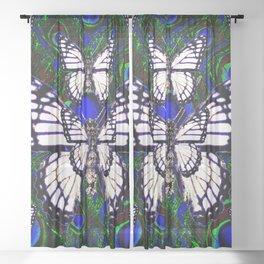 BLUE-GREEN PEACOCK ART WHITE MONARCH'S Sheer Curtain