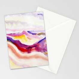 Provincetown Dunes, Cape Cod, Massachusetts colorful coastal landscape painting by Charles Demuth Stationery Cards