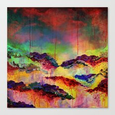 IT'S A ROSE COLORED LIFE 4 - Deep Red Colorful Floral Garden Abstract Crimson Green Painting Canvas Print