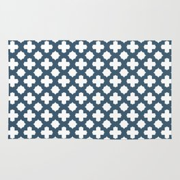 Dusky Blue Stars & Crosses Pattern Rug