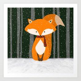 Fox Wintery Holiday Design Art Print