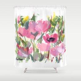 Pink Poppy Graphic Shower Curtain