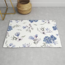 Floral Pattern - Classic Blue and White Rug