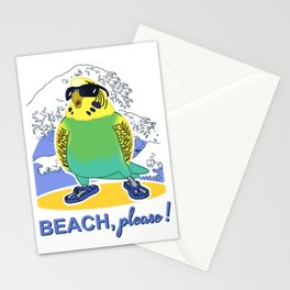 beach please budgie Stationery Cards