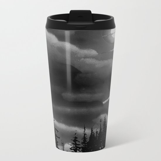 Bright Cloudy Night Sky in Black and White Metal Travel Mug