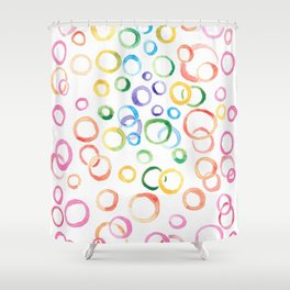 Fun Multicolor Bubbles Shower Curtain