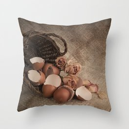 Basket with egg shells and roses Throw Pillow