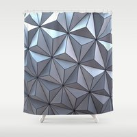 spaceship Shower Curtains featuring Spaceship Earth by Jillian Stanton