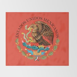 Close up of the Seal from the flag of Mexico on Adobe red background Throw Blanket