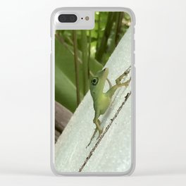 Leaning Lizard Clear iPhone Case