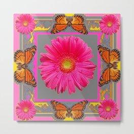 Pink Gerbera Flowers Orange Butterflies Grey Patterns Metal Print
