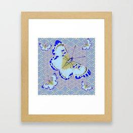 ORIENTAL STYLE BLUE-WHITE EXOTIC BUTTERFLY BLUE ART Framed Art Print