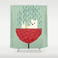 yetiland Shower Curtains featuring umbrella bath time! by Yetiland