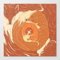 foxes Canvas Prints featuring Foxes by Beesants