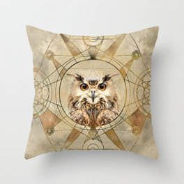 Owl Sacred Geometry Digital Art Throw Pillow