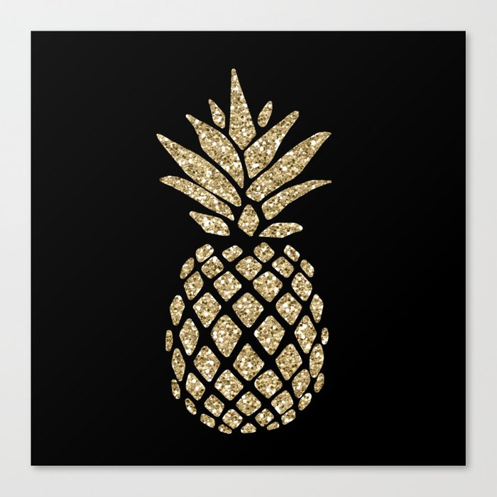 Gold Glitter Pineapple Leinwanddruck