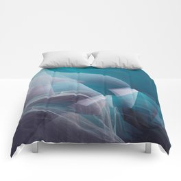 Abstract waves turquoise Comforters