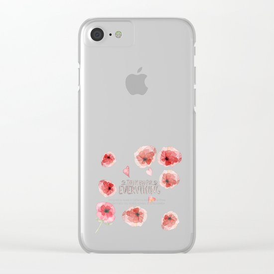 Thank you for everything- Vintage Typography and floral Illustration Clear iPhone Case