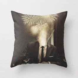 Lovely Head - Fireworks Throw Pillow
