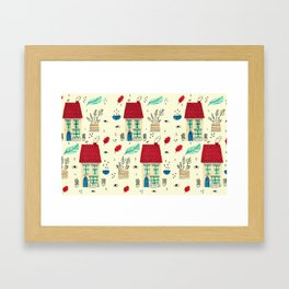little houses pattern Framed Art Print